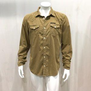 Diesel Men's Beige Corduroy Cotton Shirt